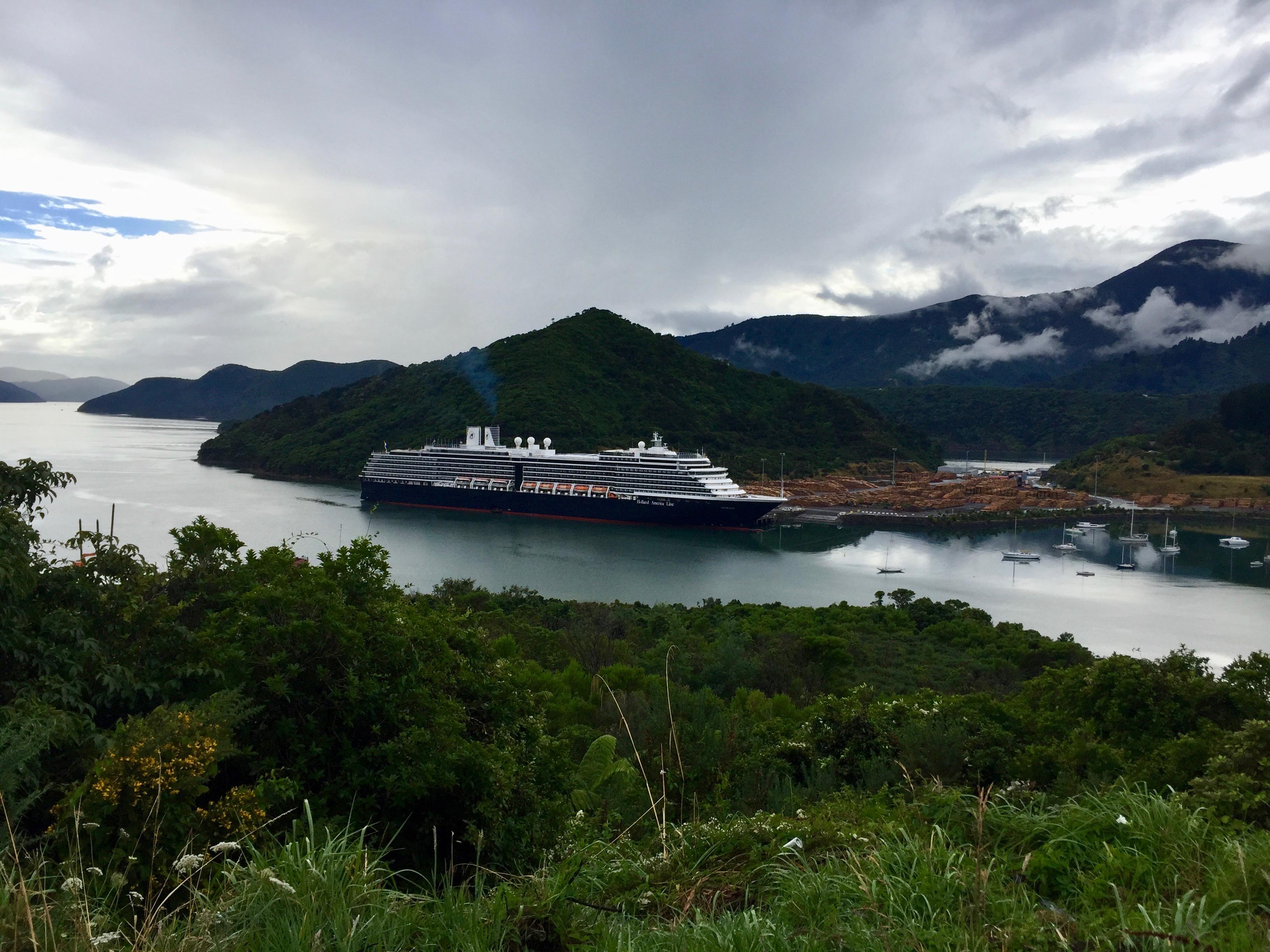 Cruise ship and lumber yard