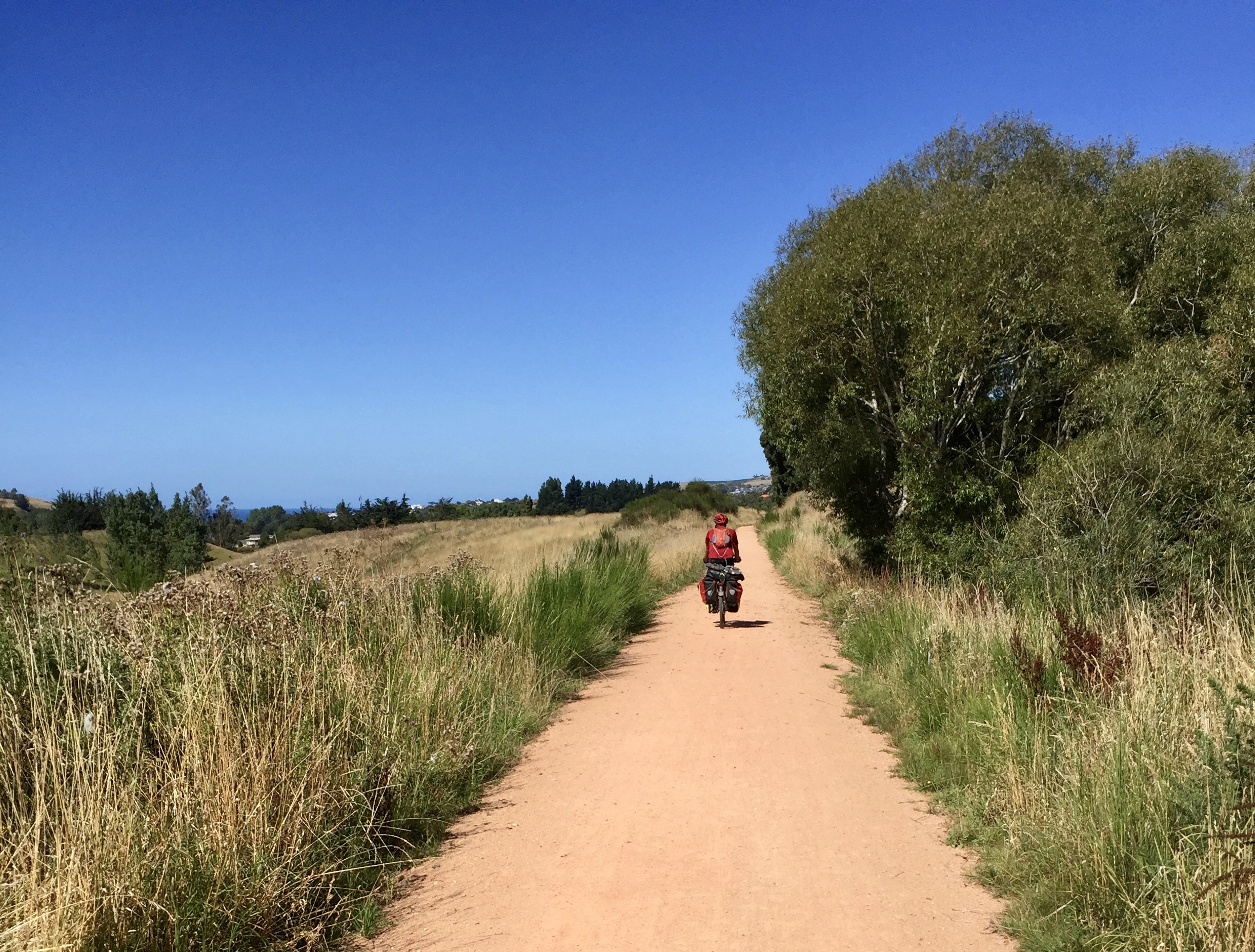 Jelle on the trail into Oamaru